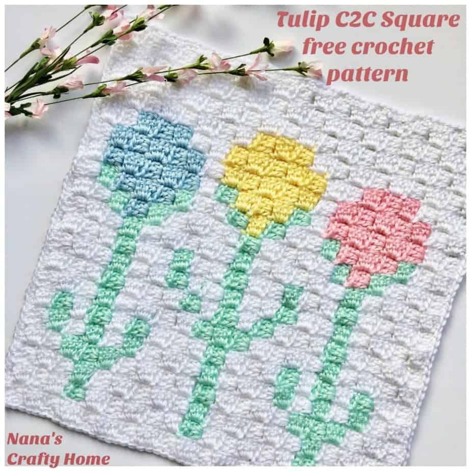 Flower Tulip C2C Square free crochet pattern