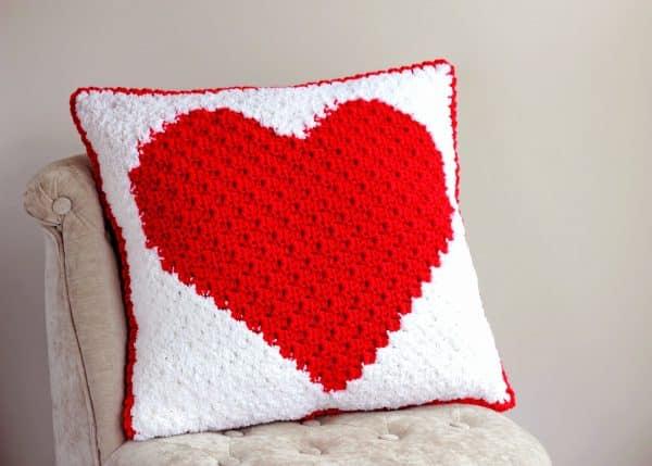 Heart C2C Sherpa Pillow Free Crochet Pattern