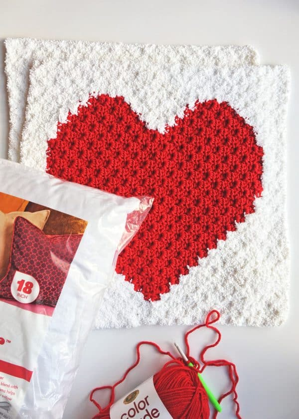 Heart C2C Sherpa Pillow Free Crochet Pattern