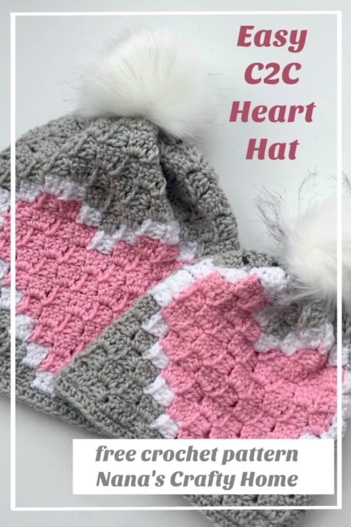 Heart C2C Hat Free Crochet Pattern
