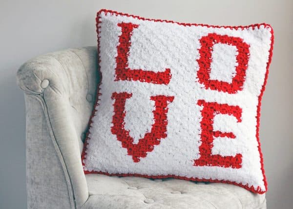 Love C2C Sherpa Pillow Free Crochet Pattern