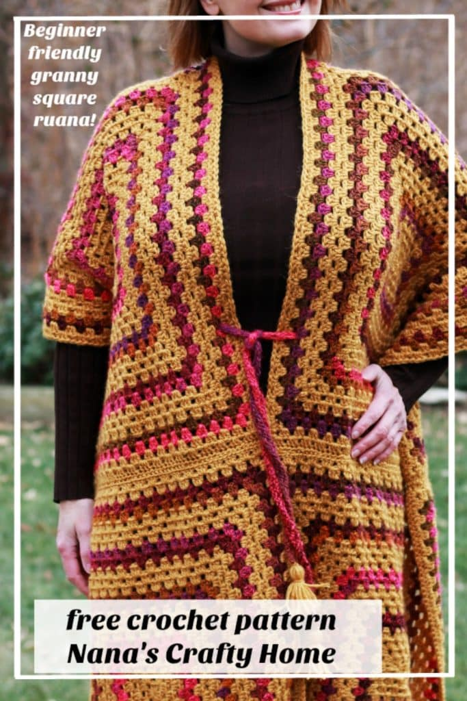 Easy Granny Square Ruana Wrap free crochet pattern