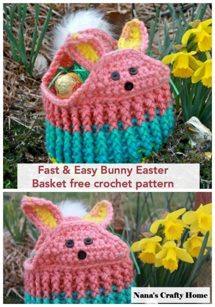 Easy Bunny Easter Basket free crochet pattern