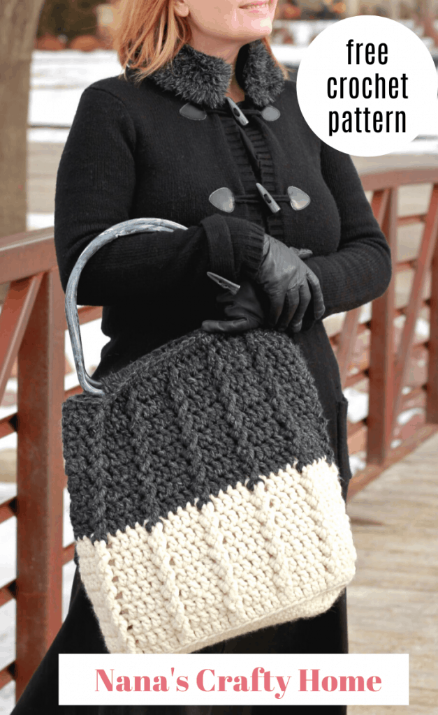 Beginner friendly cabled crochet bag the Bewitching Braids Bag