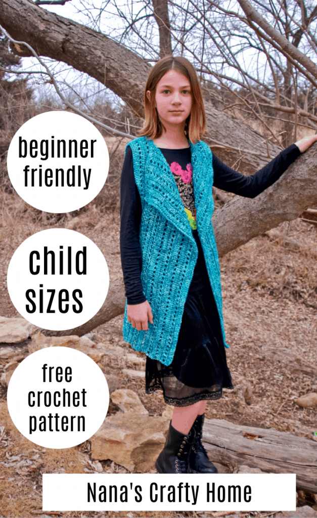 child size crochet vest free crochet pattern