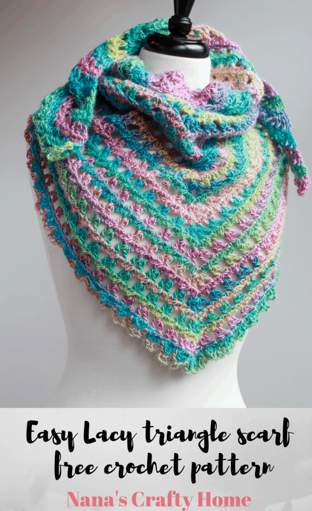 easy lacy candy kisses triangle scarf free crochet pattern