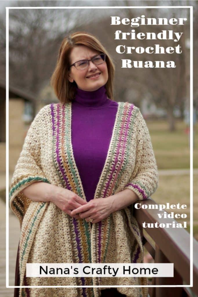 easy beginner friendly crochet ruana free pattern video tutorial