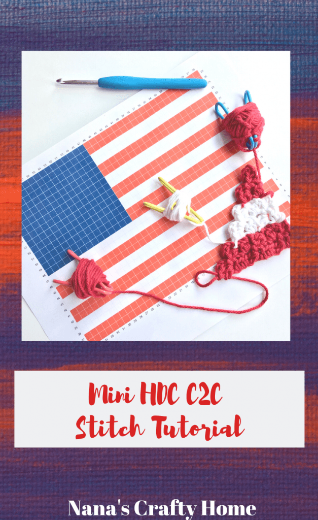 learn mini hdc c2c crochet stitch
