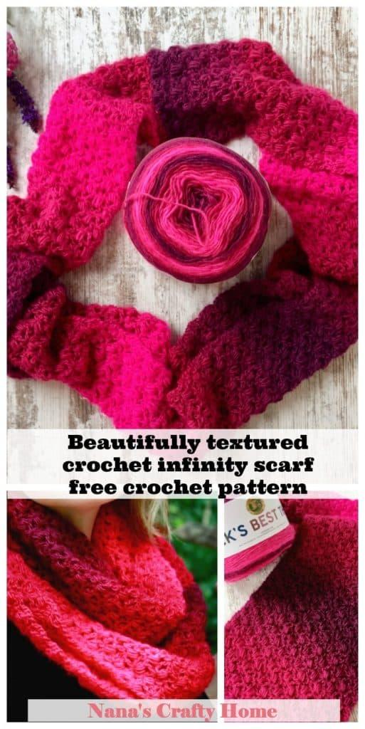 Beginner friendly textured crochet infinity scarf free crochet pattern