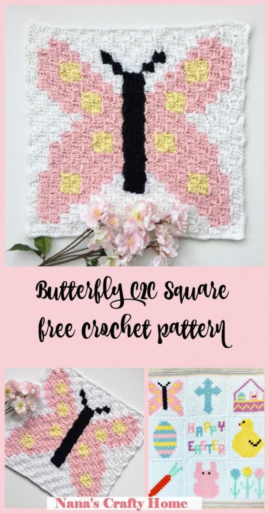 Butterfly C2C Square free crochet pattern