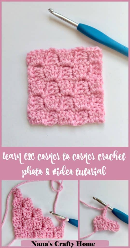 Learn the C2C corner to corner crochet technique video tutorial