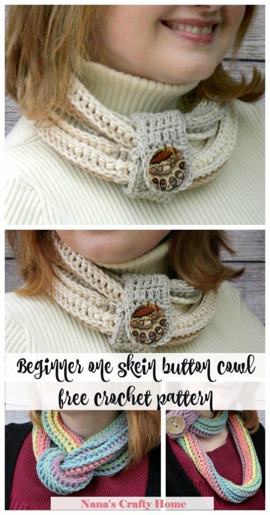 Beginner one skein cowl free crochet pattern