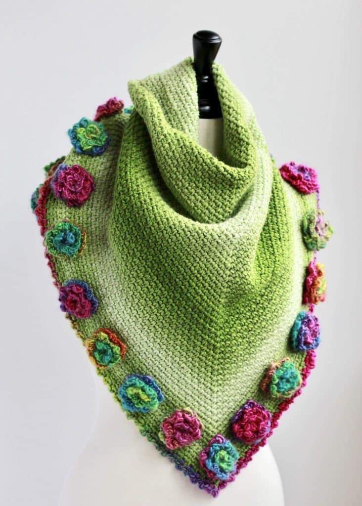 Flower Triangle Scarf free crochet pattern