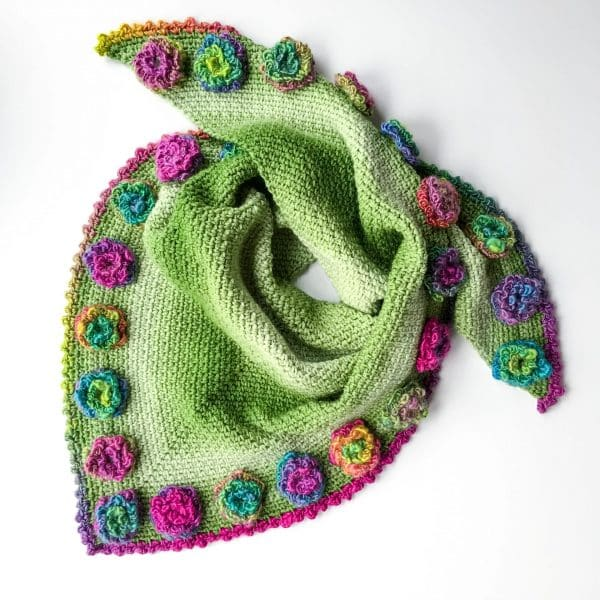 Flower Triangle Scarf free crochet pattern