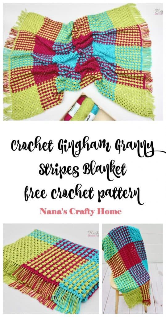 Crochet Gingham Stripes Blanket free crochet pattern