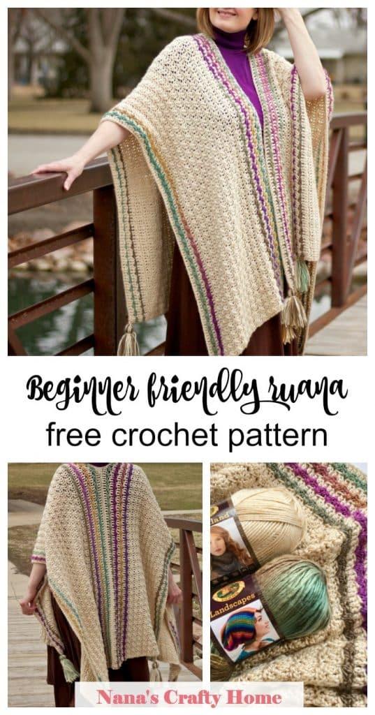 Beginner friendly Ruana crochet wrap free crochet pattern