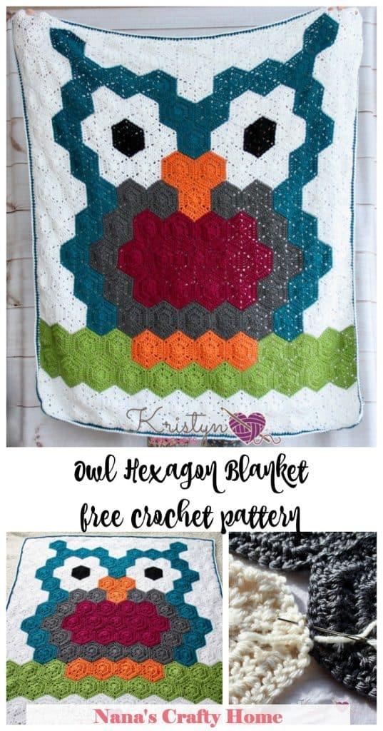 Owl Hexagon Blanket free crochet pattern