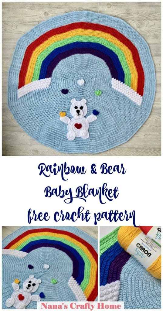 Rainbow Bear Baby Blanket Free Crochet Pattern