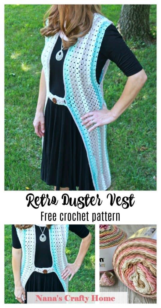 retro duster vest free crochet pattern