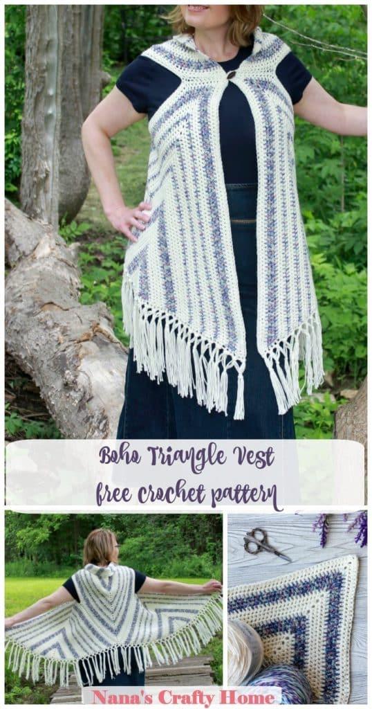 boho triangle crochet vest free crochet pattern