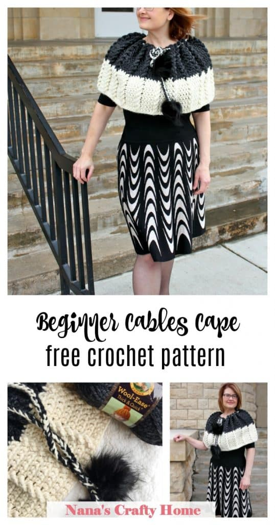 Bewitching Braids crochet cape with cables free crochet pattern
