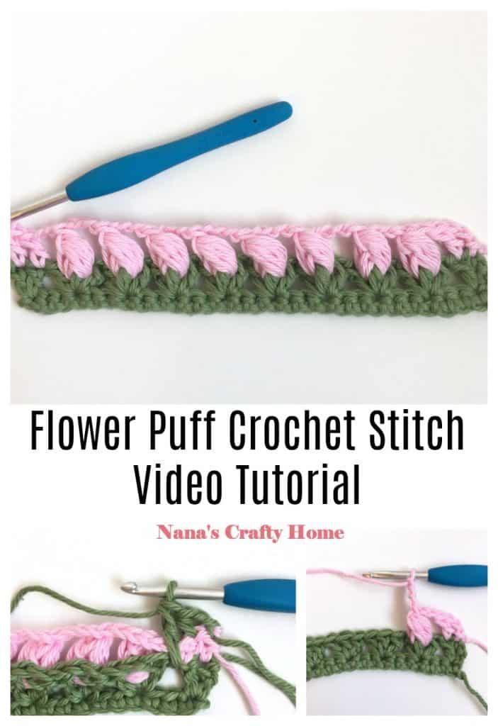 Flower Puff Crochet Stitch Collage