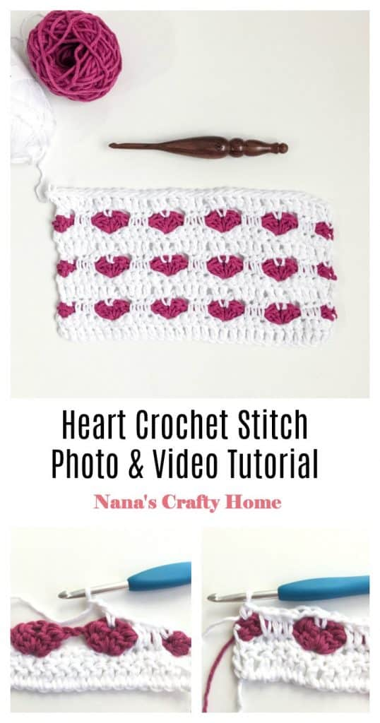 Heart Crochet Stitch Photo & Video Tutorial