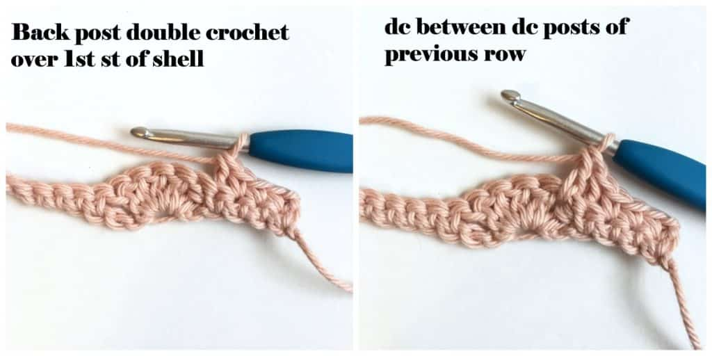 Shell Crochet Stitch Row 2 beginning