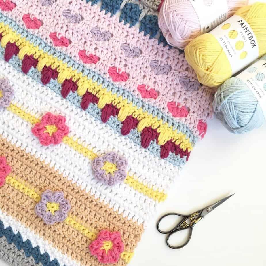 Stitch Sampler Blanket Spring Rhapsody Blanket free crochet pattern CAL announcement