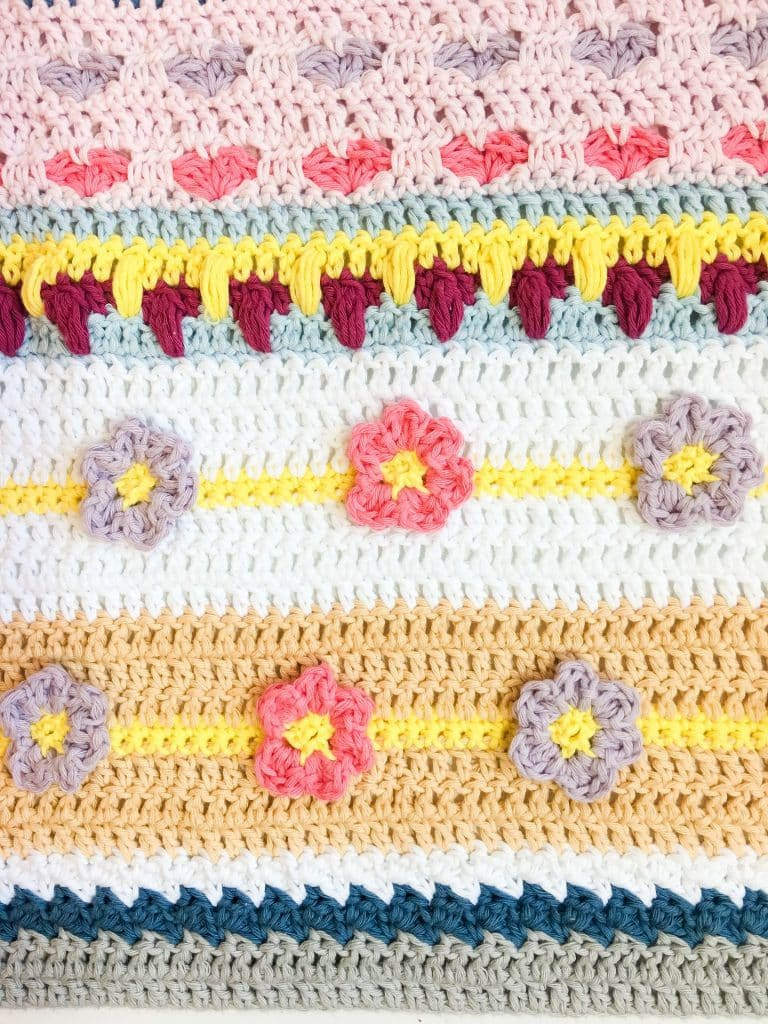 Spring Rhapsody Stitch Sampler Blanket CAL free crochet pattern Part 1