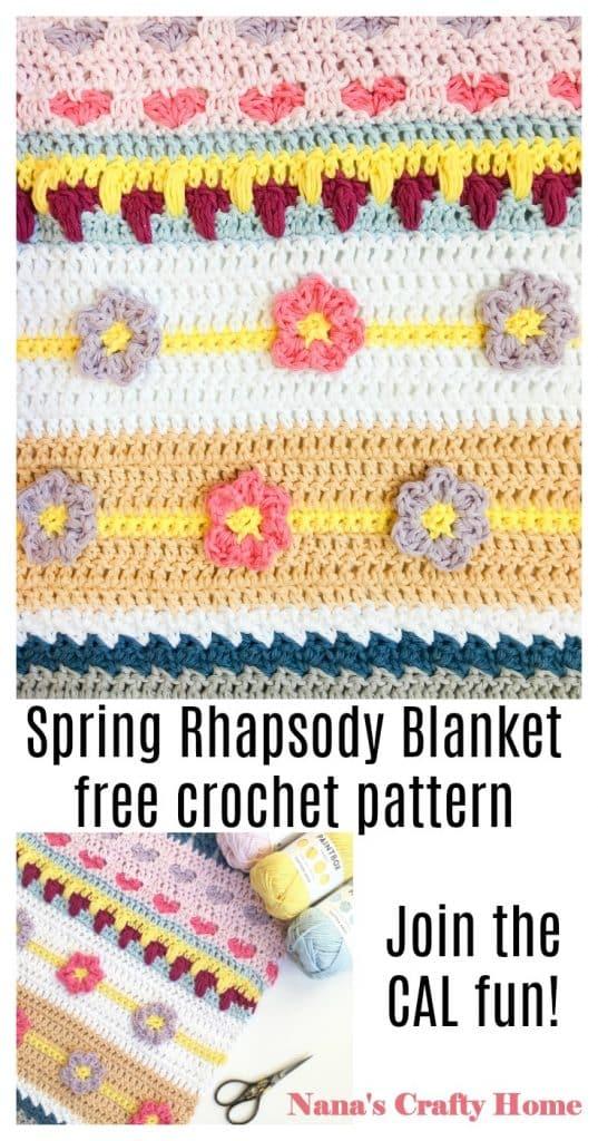Spring Rhapsody Stitch Sampler Blanket CAL free crochet pattern Part 1