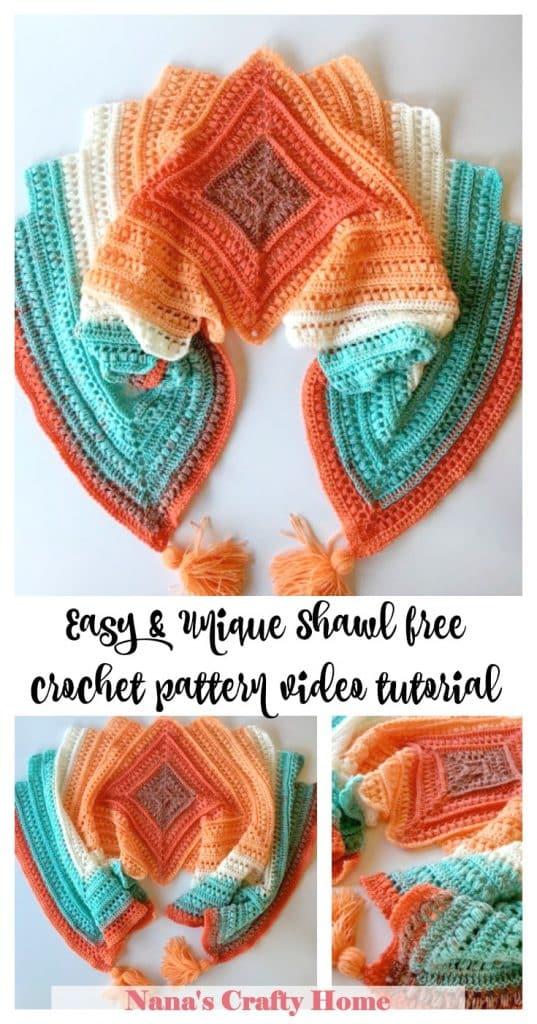 Wrap me in Sunshine Shawl free crochet pattern video tutorial