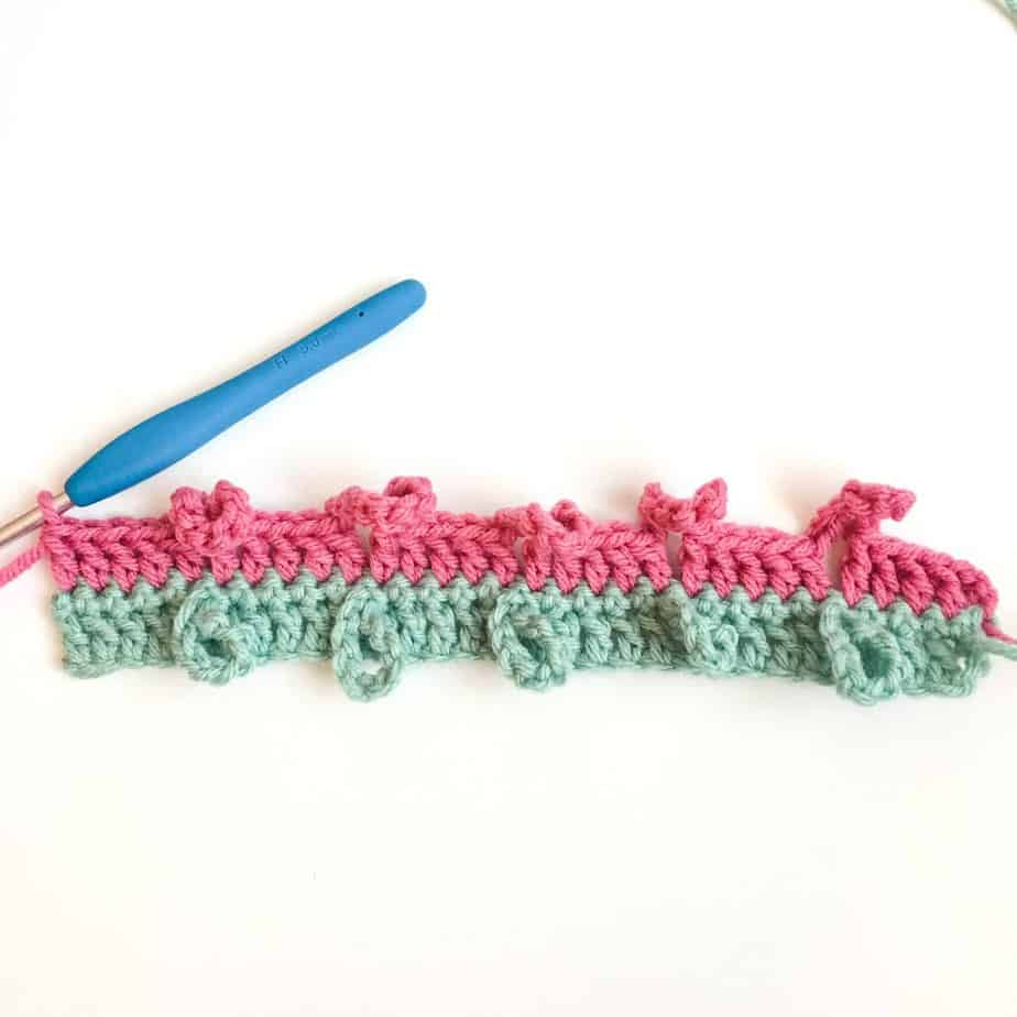 Braided Loops Crochet Stitch Row 3 complete
