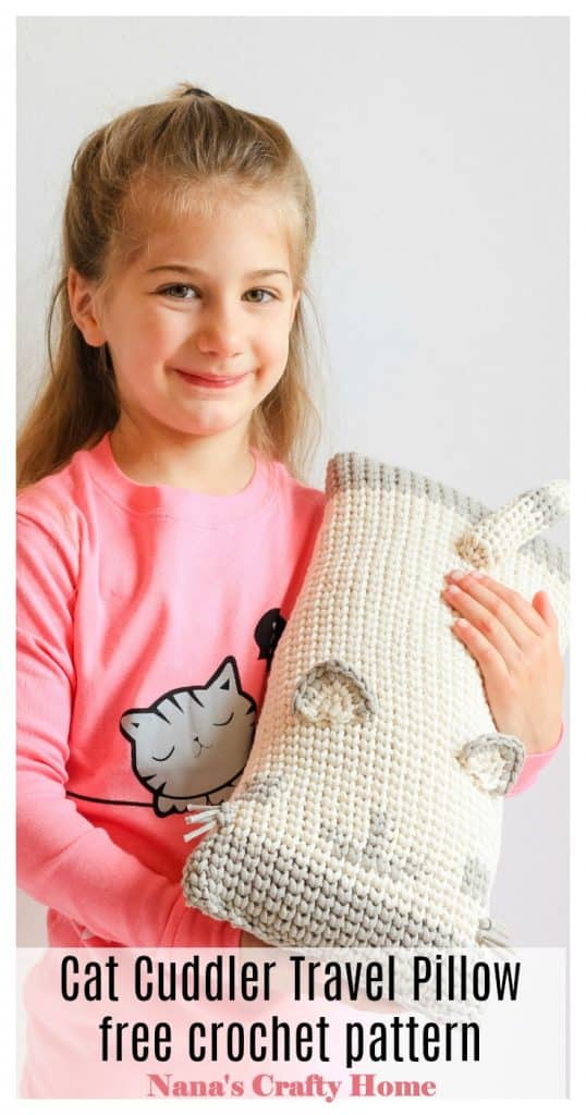 Cat Cuddler Travel Neck Pillow with girl 2