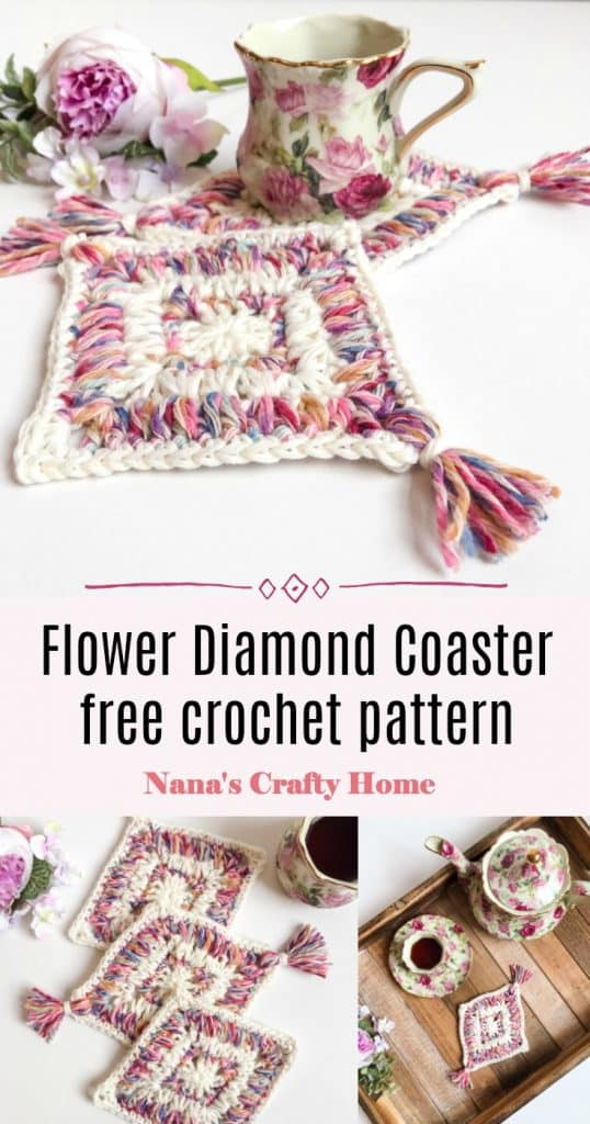 Flower Diamond Coaster Pinterest collage