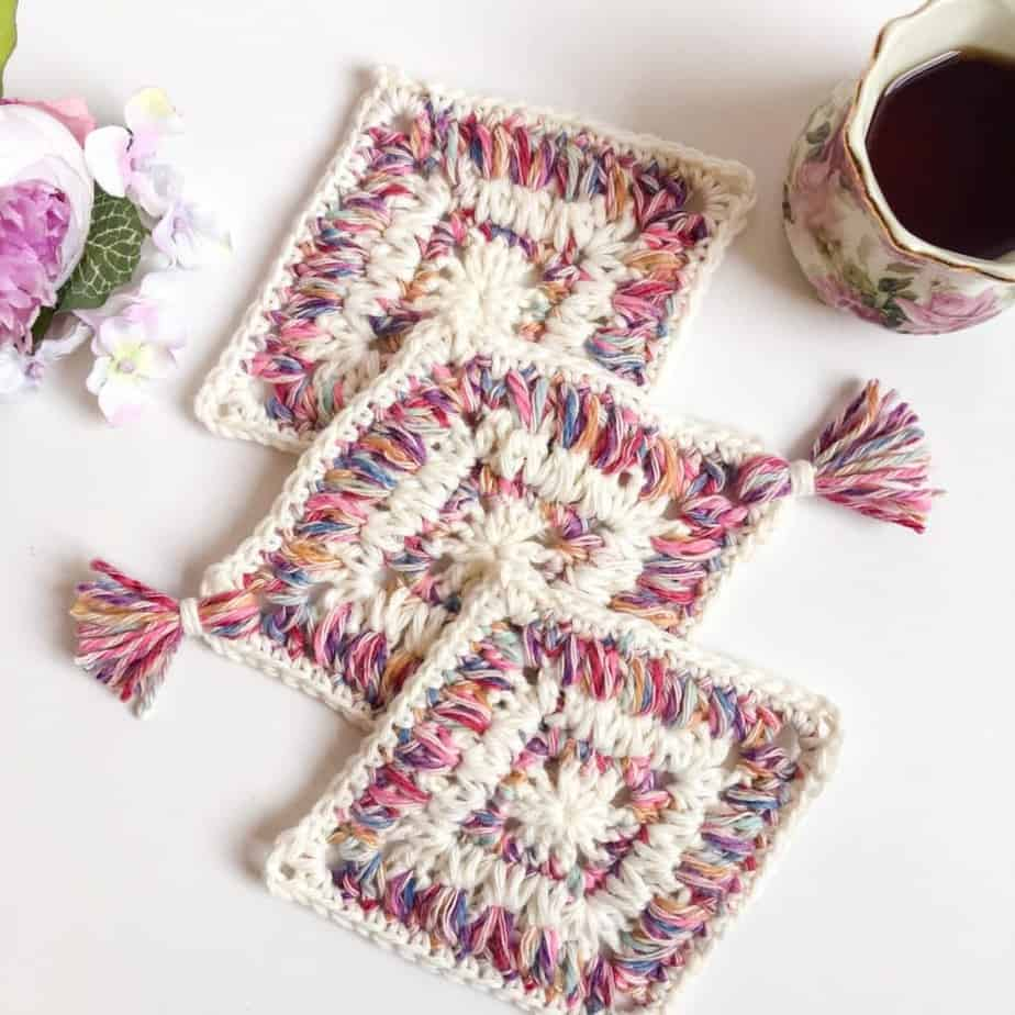 Flower Garden Diamond Coaster free crochet pattern flat