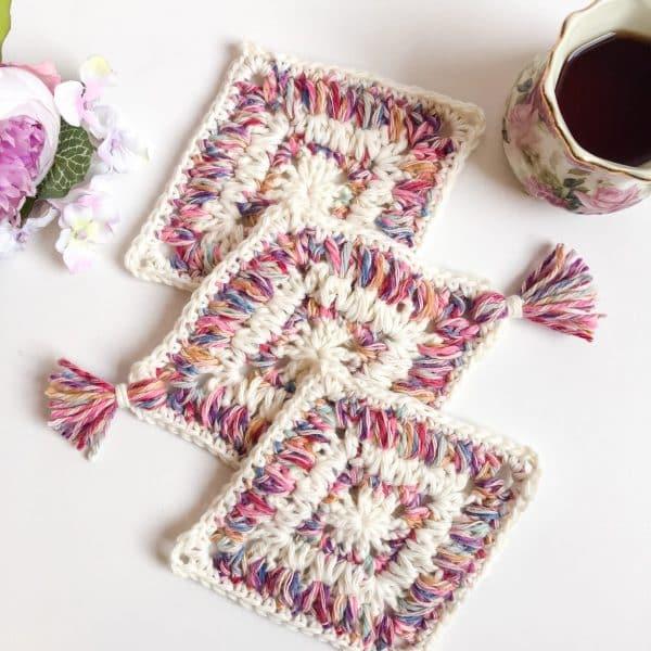 Flower Garden Diamond Coaster free crochet pattern flat