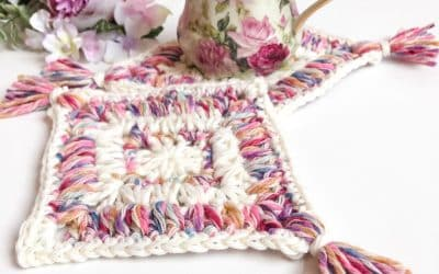 Flower Garden Diamond Coaster Mug Rug free crochet pattern