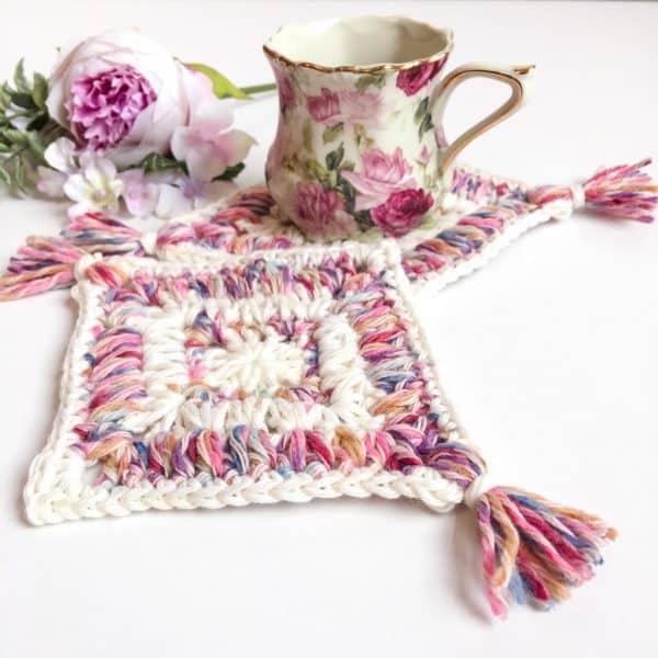Flower Garden Diamond Coaster free crochet pattern