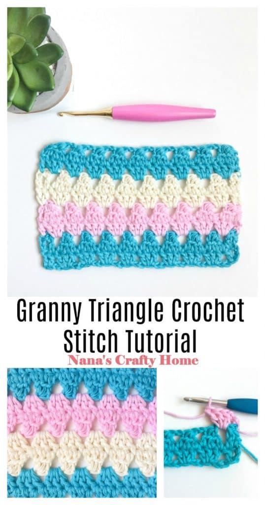 Granny Triangle Crochet Stitch Pinterest Collage