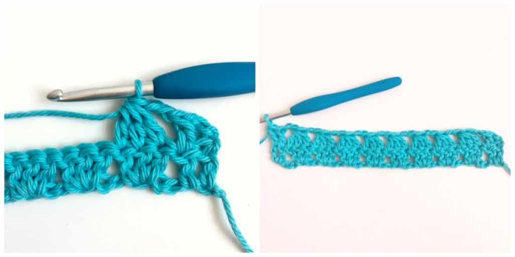 Granny Triangle Crochet Stitch Row 2 finish