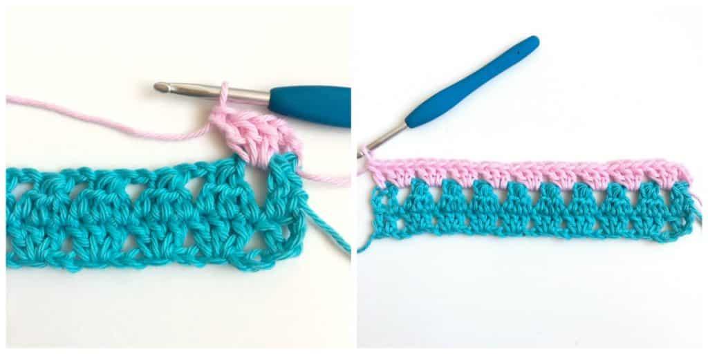 Granny Triangle Crochet Stitch Row 3