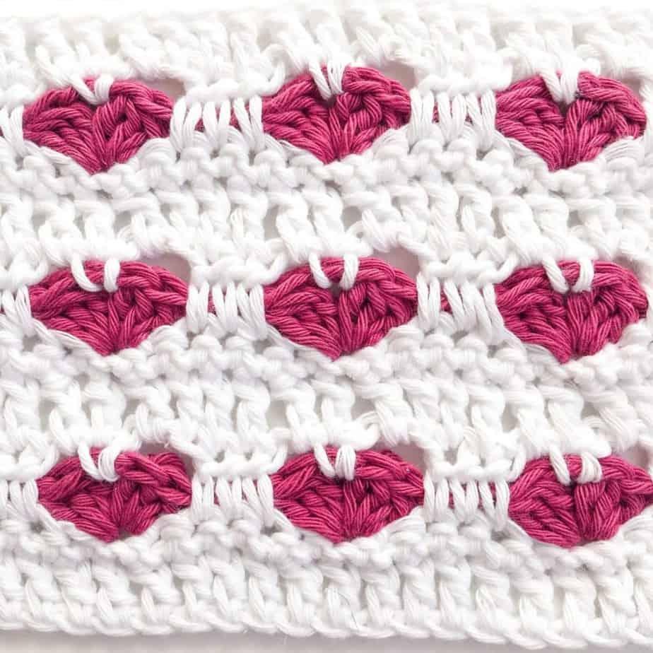 Heart Crochet Stitch close up