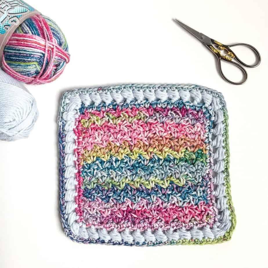 Puff Edge Border Crochet Stitch Flat