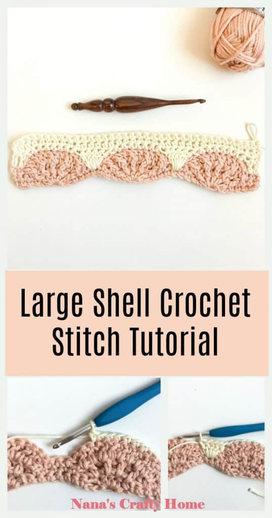 Large Shell Stitch Tutorial Pinterest collage