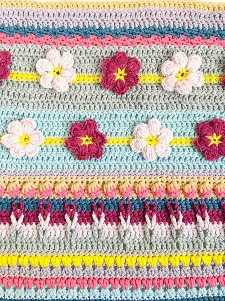 Spring Rhapsody Blanket CAL Part 3 free crochet pattern close up