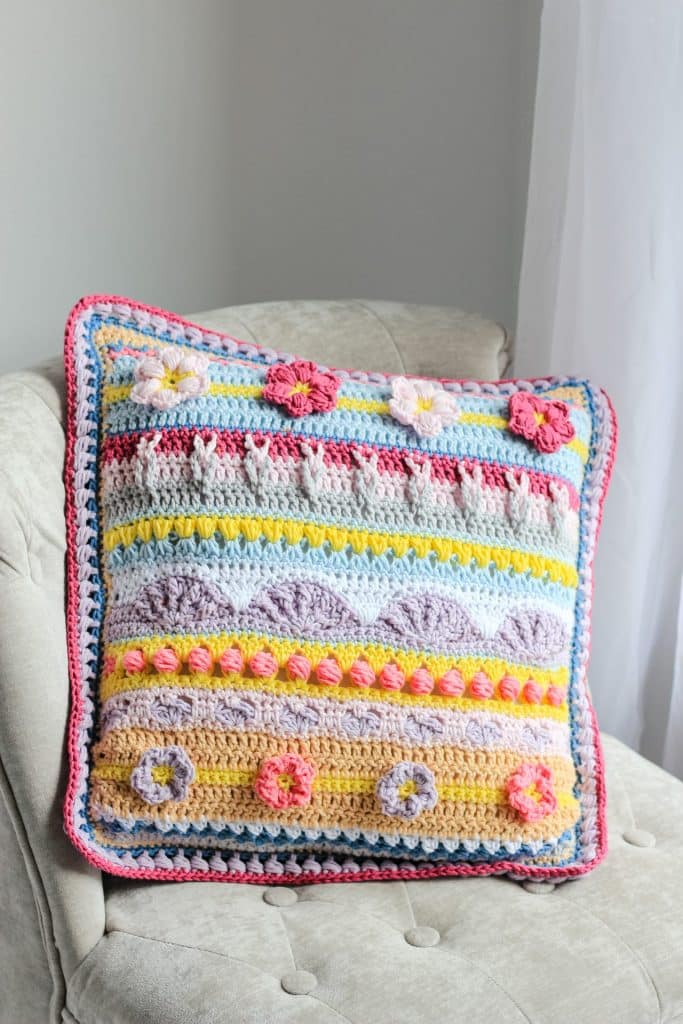Stitch Sampler Spring Rhapsody Pillow