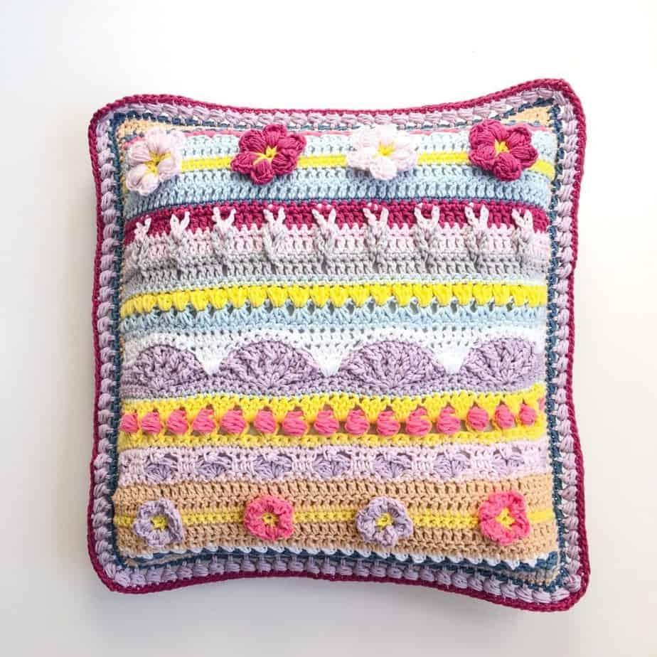 Stitch Sampler Spring Rhapsody Pillow insert pillow flat