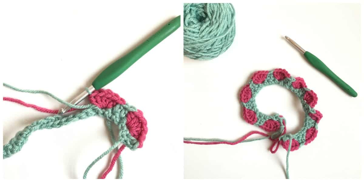Strawberry Crochet Stitch Row 2 end