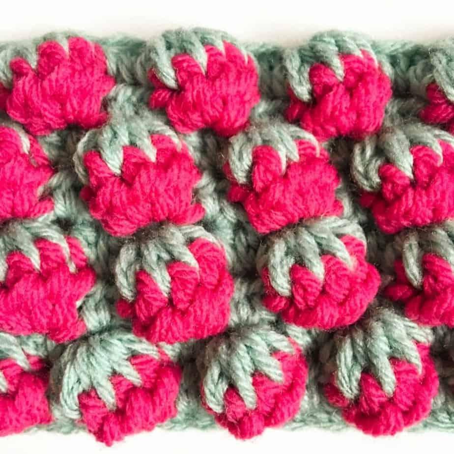 Strawberry Crochet Stitch Tutorial Complete close up